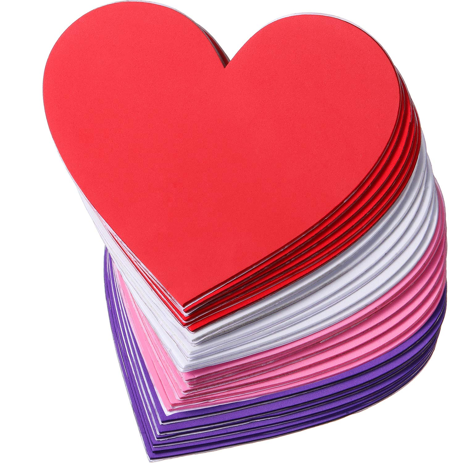 Hestya 24 Pieces 6 Inches Heart Foam Stickers Large Heart Shaped Stickers Self Adhesive Hearts Stickers for Valentine's Day Mother's Day DIY Crafts Heart Stickers, 4 Colors