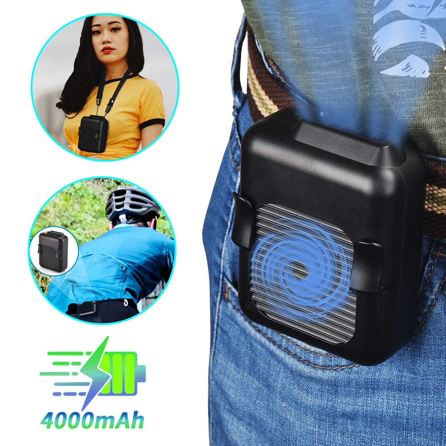 Socool fan Waist Fan,Portable Belt Fan,Personal Mini Clip on Fan Necklace Fan 2in1, 15H Working Time, 5000RPM Strong Airflow with 42db, 3 Speeds for Camping, Fishing,Cycling,Travel and Outdoor Black