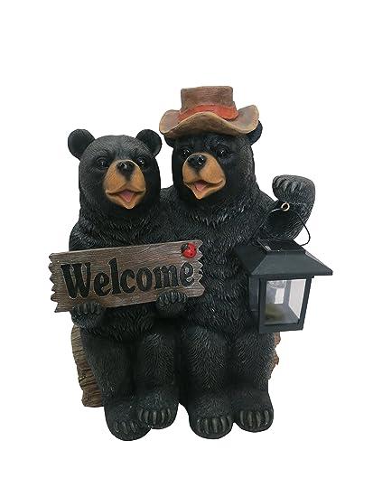 Amazon.com: Alpine oso Pareja con linterna solar y con texto ...