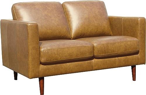 Amazon Brand Rivet Revolve Modern Leather Loveseat Sofa