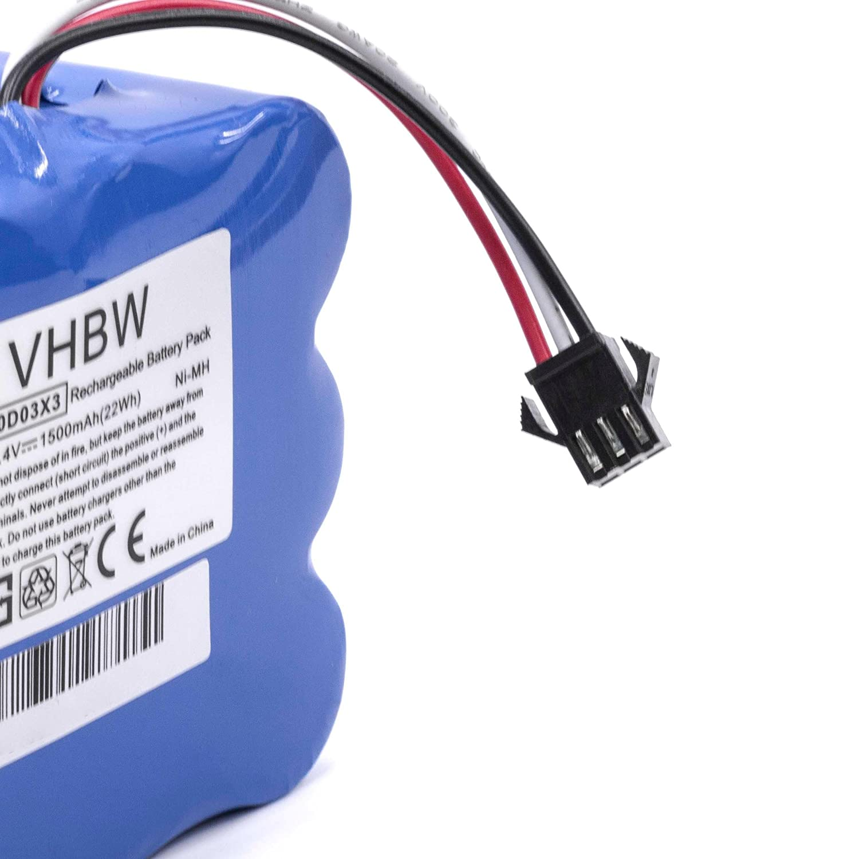 14.4V vhbw NiMH bater/ía 1500mAh para robot limpiasuelos robot aut/ónomo de limpieza H.Koenig SWR22
