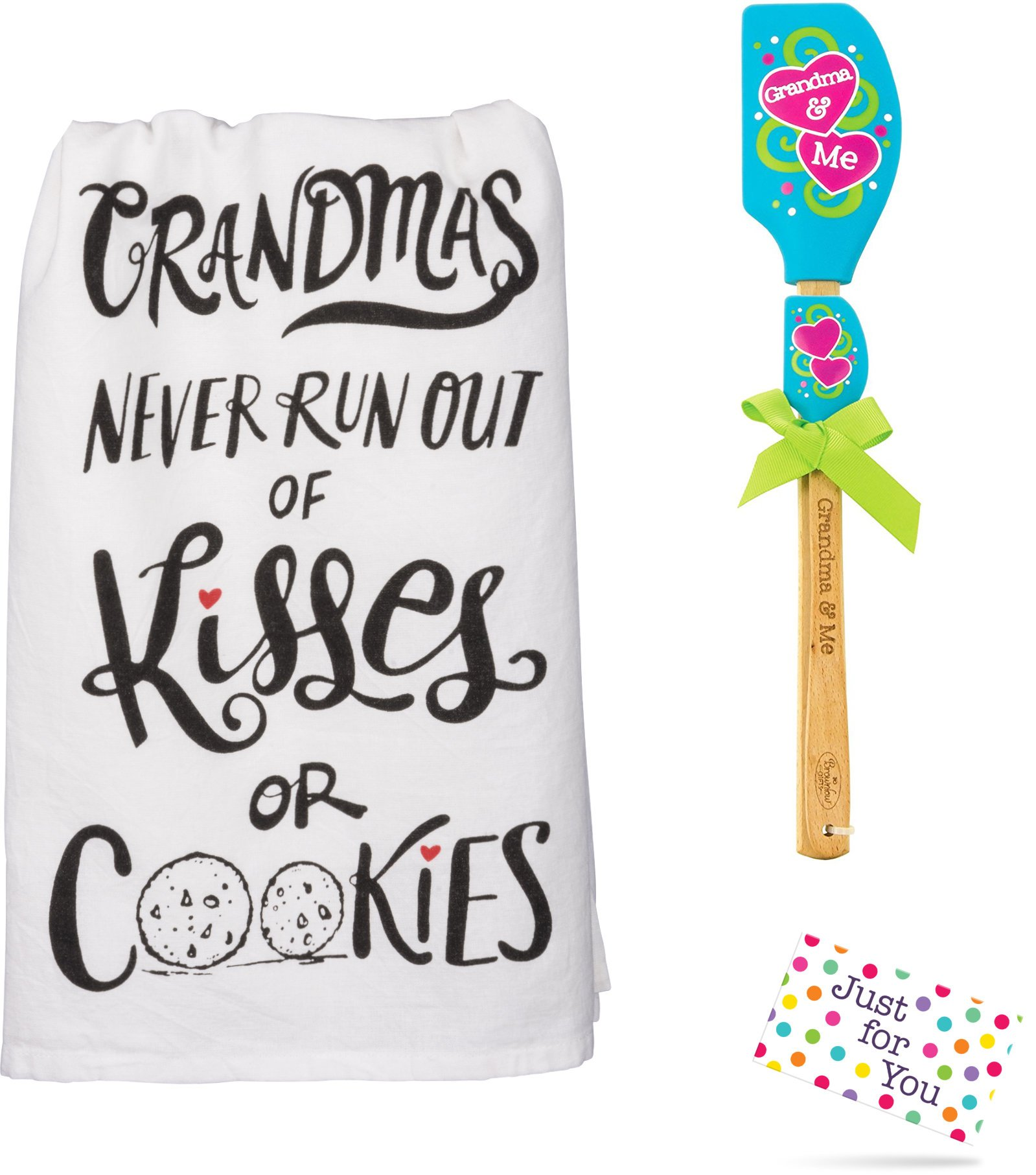 Just 4 U Gifts Grandma Grandchild Kitchen Set - Grandmas Never Run Out of Kisses or Cookies Towel and Blue Hearts Spatula Set with Gift Tag by Just 4 U Gifts (Image #3)