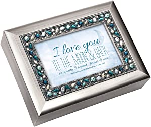 Cottage Garden I Love You Moon & Back Brushed Silver Finish Inspirational Music Box Plays How Great Thou Art