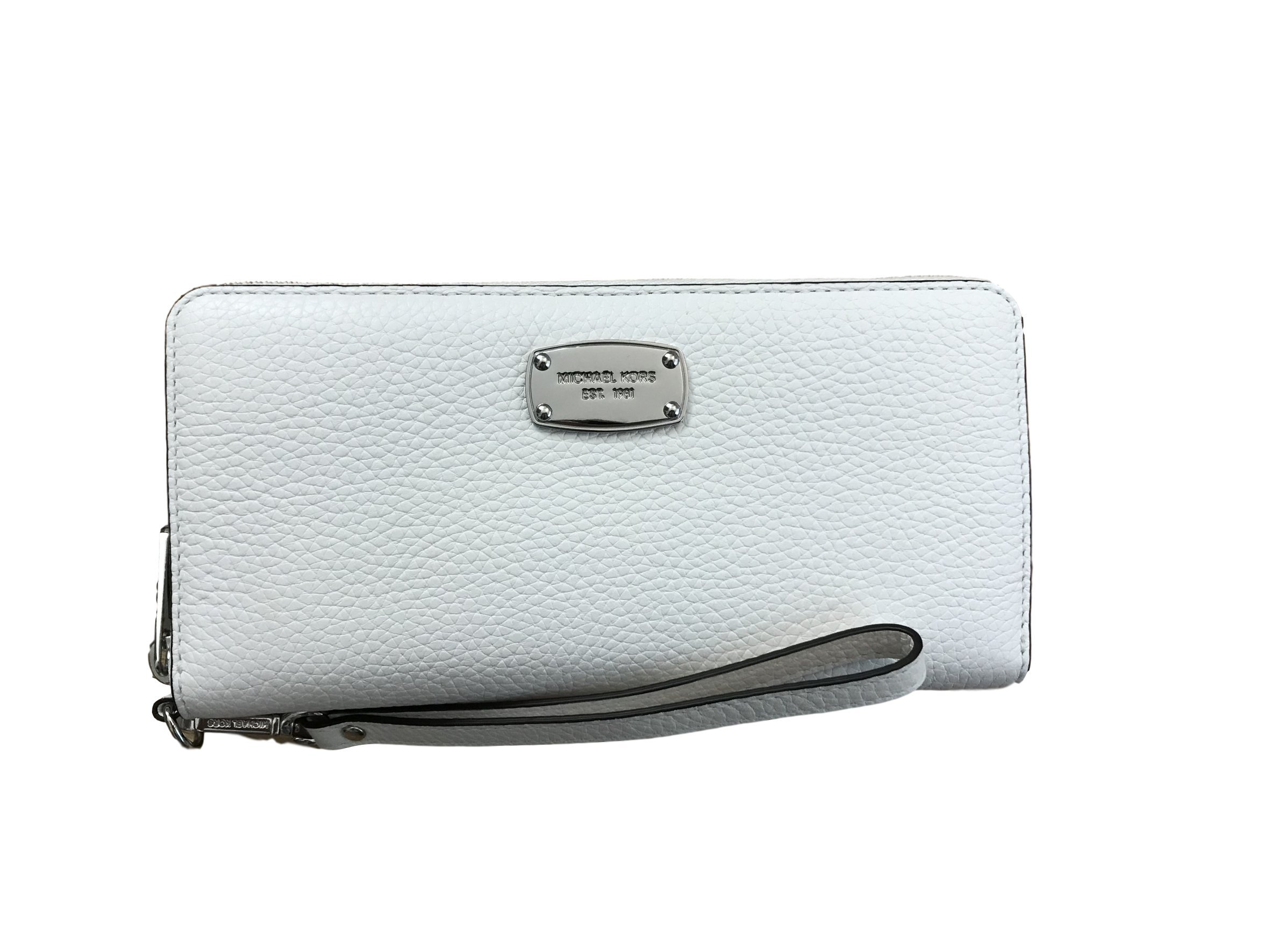 Michael Kors Jet Set Item Leather Travel Continental Zip Around Wallet/wristlet White
