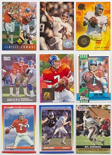 John Elway 25 Different Football Cards Featuring John Elway At