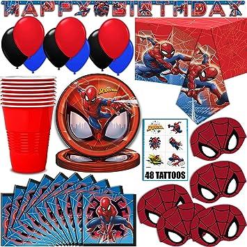 Amazon.com: Spider-Man suministros de fiesta, sirve 16 ...