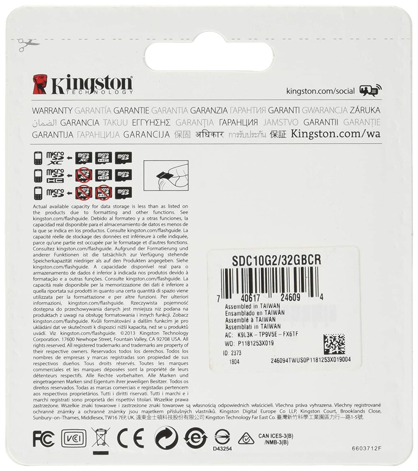 Kingston SDC10G2//32GBCR Micro SD Card for Universal Black Retail Packaging