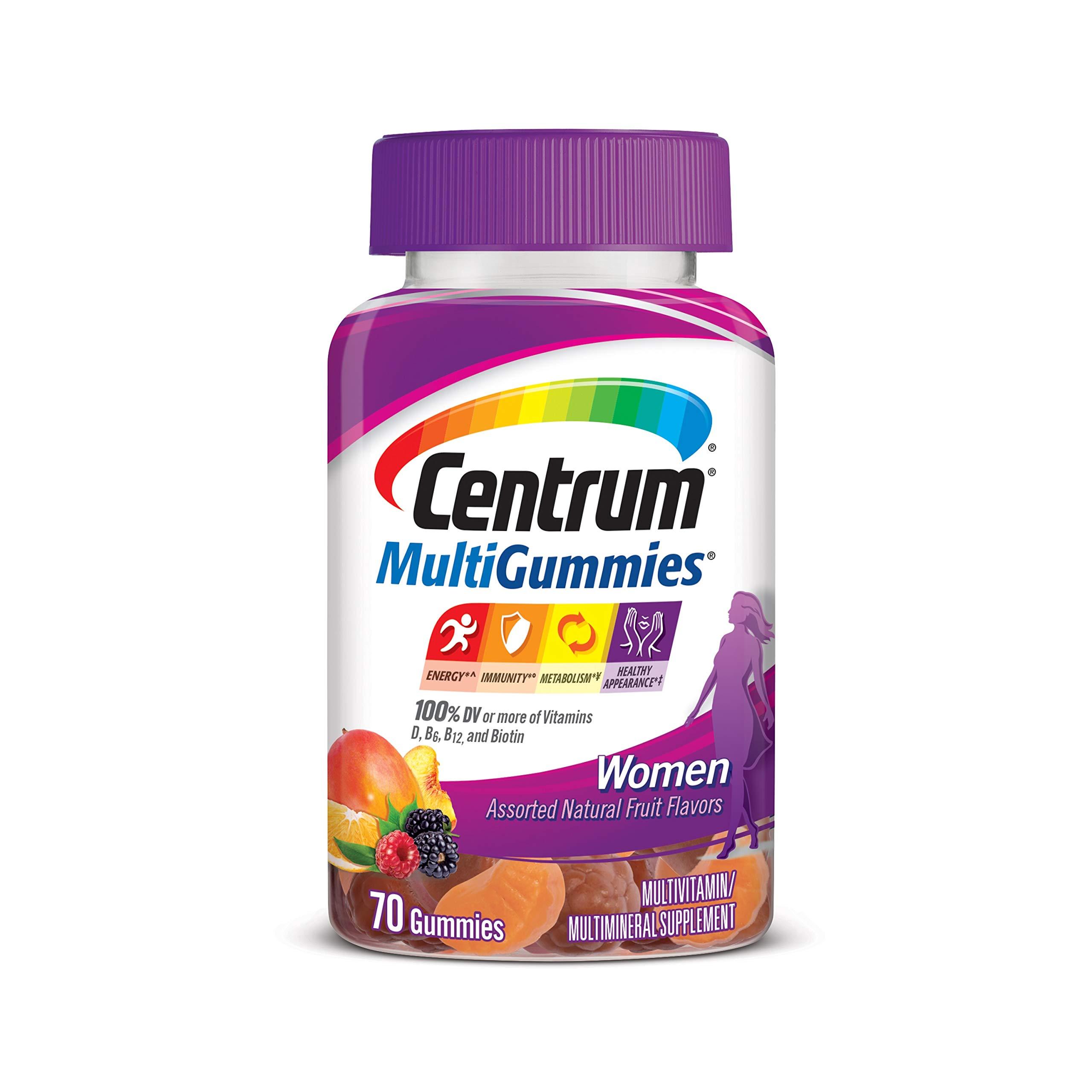 Centrum MultiGummies Gummy Multivitamin for Women, Multivitamin/Multimineral Supplement with Vitamin D3, B Vitamins and Antioxidants, Assorted Fruit, Flavor - Orange, 70 Count (Pack of 1)