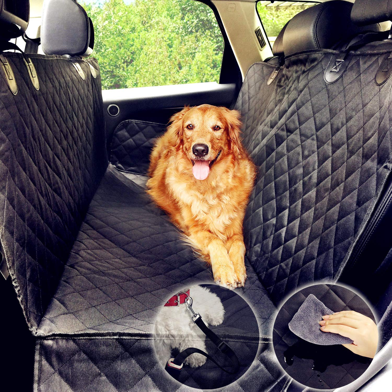Dog Hammock, Car Seat Cover for Dog, Water-Proof Predector for Pet Rear Seat Cover, Non-Slip Universal Size (137x147 cm) with Dog Seat Belt (Black)