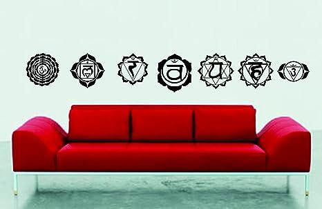 Amazon.com: Siete Chakra de yoga Asana Wall Art set ...