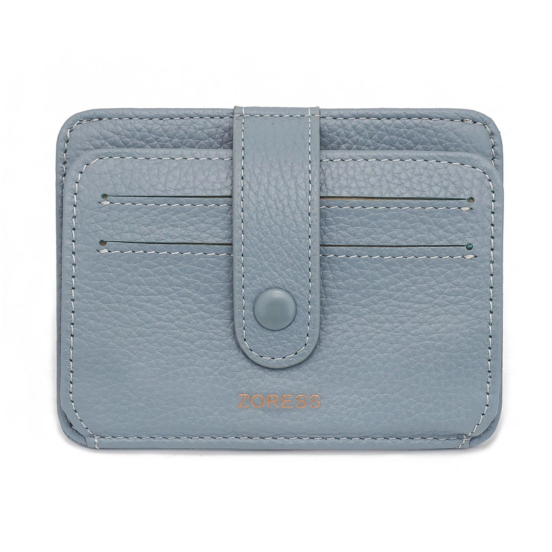 ZORESS Womens Leather RFID Blocking Slim Credit Card Case Holder Travel Front Pocket Wallet(Blue)