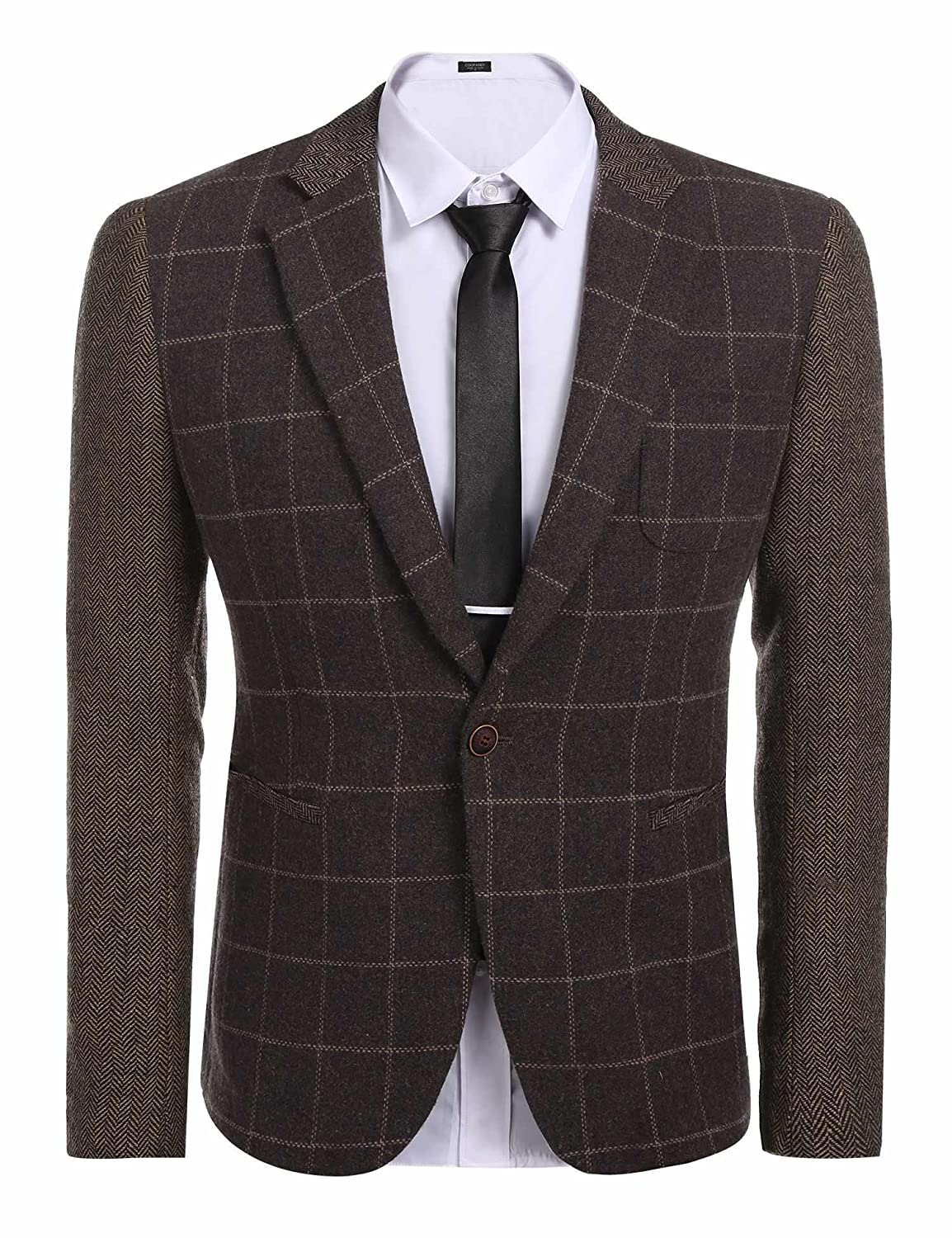 JINIDU Mens Plaid Suit Regular Fit One Button Tweed Blazer Jacket Business Suit CXJ006395