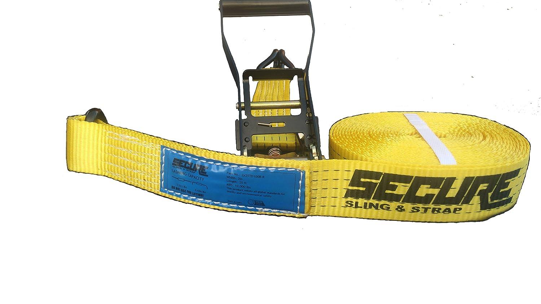 Secure Sling /& Strap U20200201000124 Yellow 2 x 25 Ratchet Tie Down Strap 2x25 Endless w//J-Hook 10,000 lbs. Break Strength