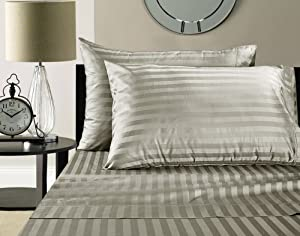 Addy Home Fashions Egyptian Cotton 500 Thread Count Damask Stripe Sheet Set, King - Silver
