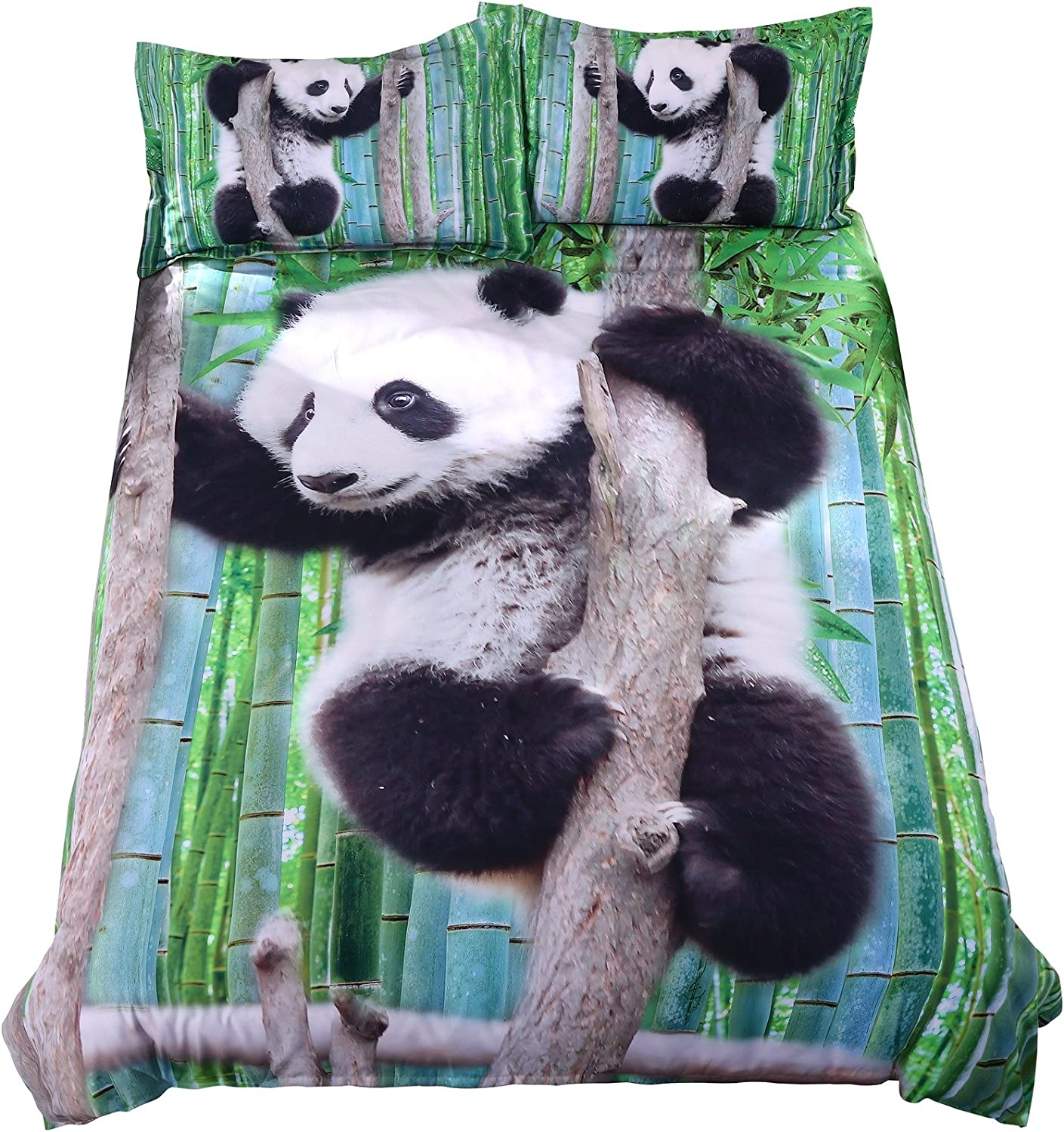 90x90 Himadoya Panda Duvet Cover Cartoon Animal Bedding Set Child Microfiber Cute Panda Head Soft Bedding Set Comforter Cover with Zipper 1 Quilt Cover 2 Pillowcases Queen
