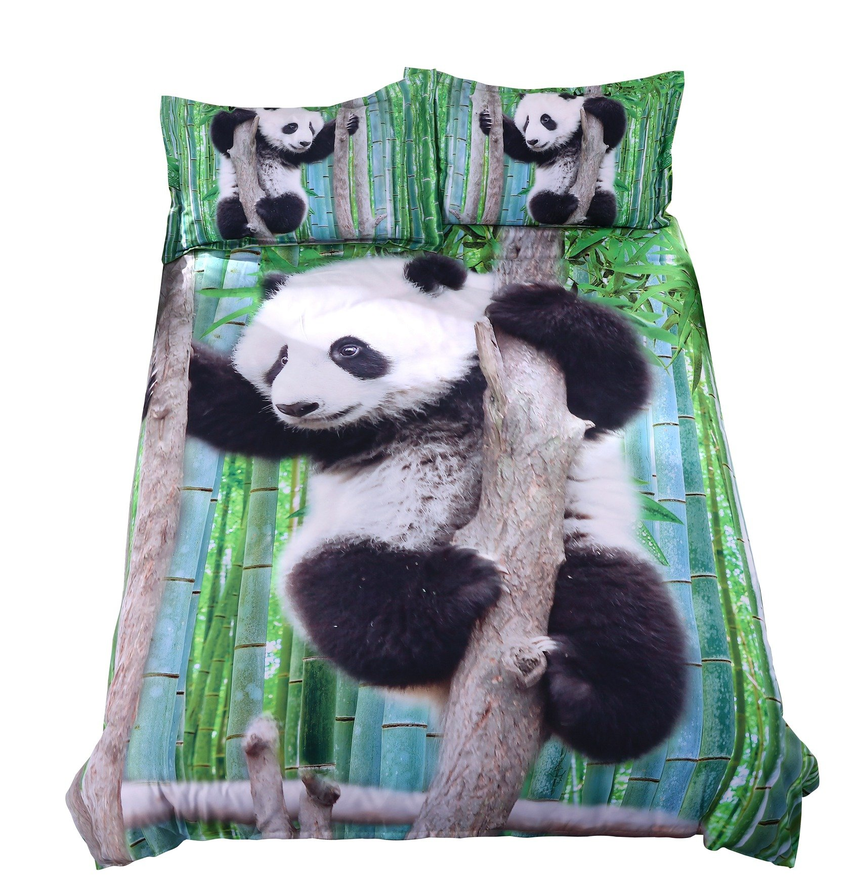 Alicemall 3D Panda Bedding Cute Panda Climbing the Tree Green Bamboo Prints Duvet Cover Set, 4 Pieces Soft Bedroom Sheets Set, Twin Size Kids' Bedding (Twin, Panda on a Branch)