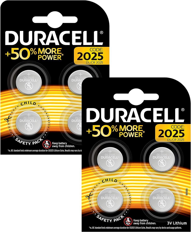 Duracell DL2025/CR2025 - Pilas especiales de botón de litio 2025 de 3V, paquete de 8 unidades diseñada para uso en llaves con sensor magnético, básculas, elementos vestibles y dispositivos médicos