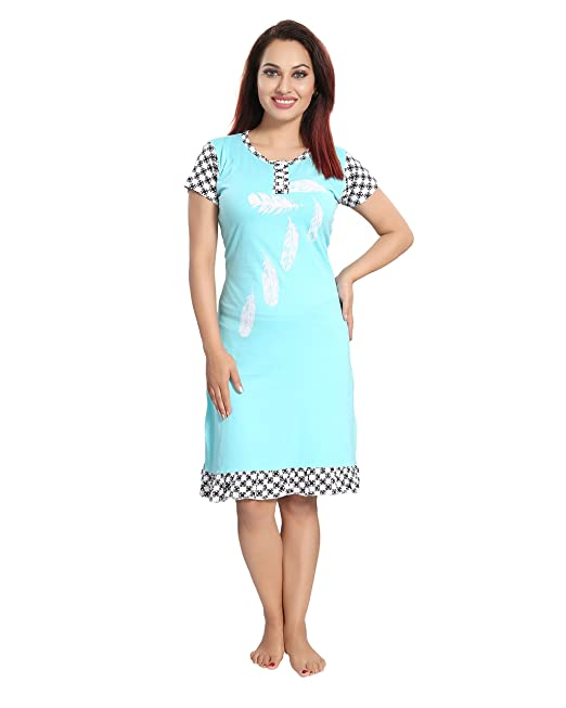 ea303b24ad 9shines Label Premium Cotton Printed Short Nighty for Women with Half  Sleeves - Blue (L