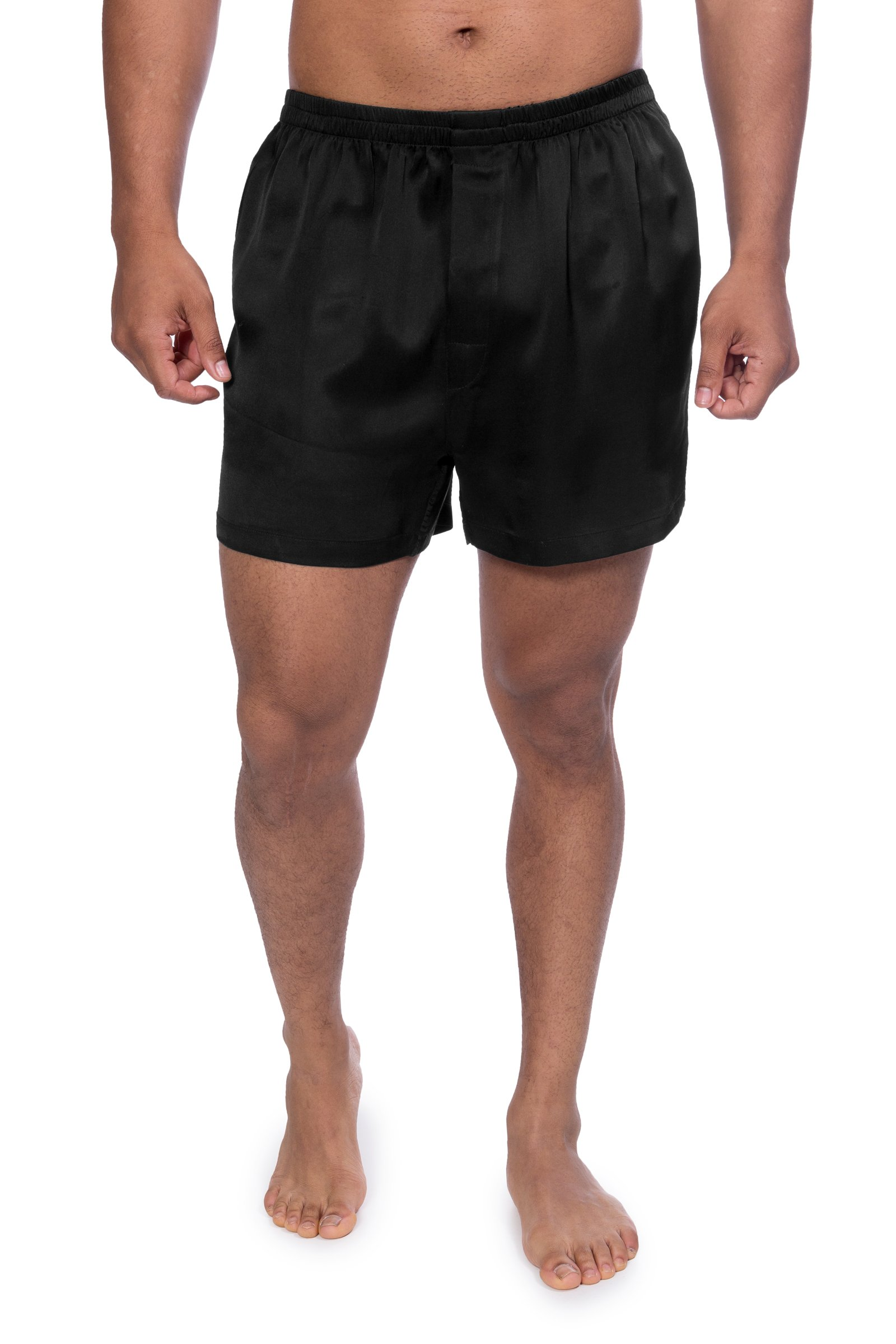 TexereSilk Men's 100% Silk Dress Boxers - Underwear for Men by (Board Room, Black, Large) Romantic Gifts for Men MS6102-BLK-L