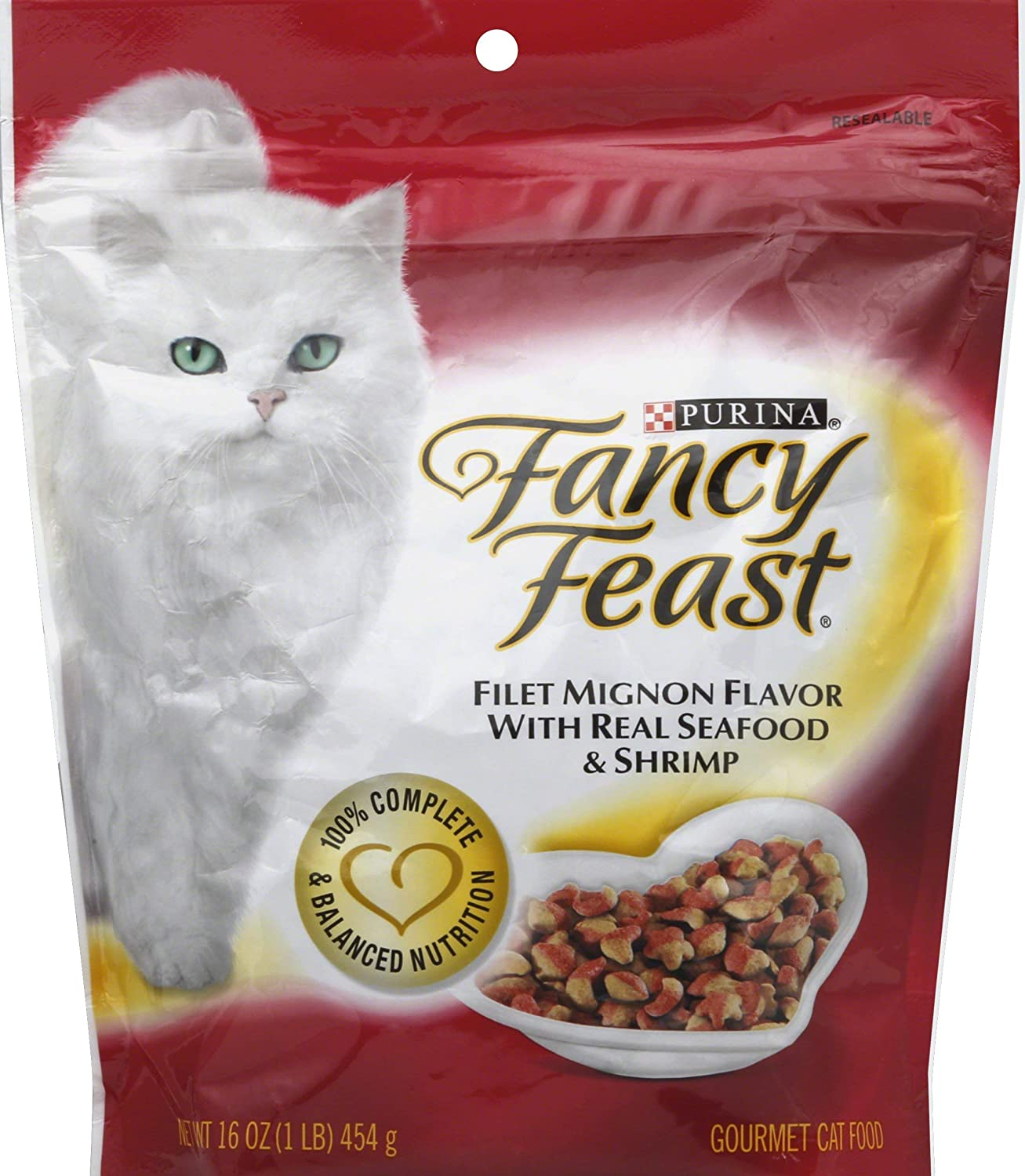 Fancy Feast Gourmet Gold Filet Mignon Flavor with Seafood and Shrimp Dry Cat Food (16-oz Pouch)