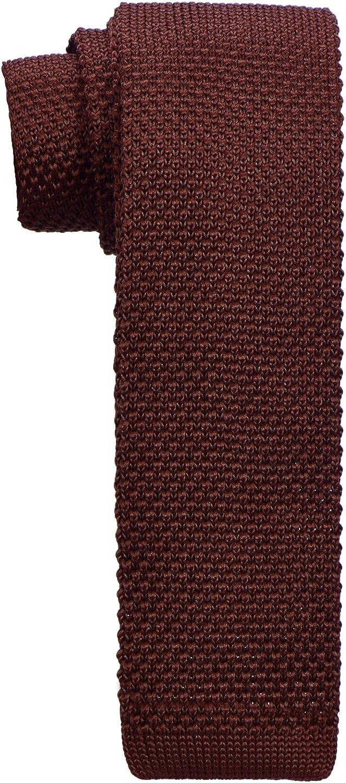 DonDon corbata de punto estrecha de color - marrón: Amazon.es ...