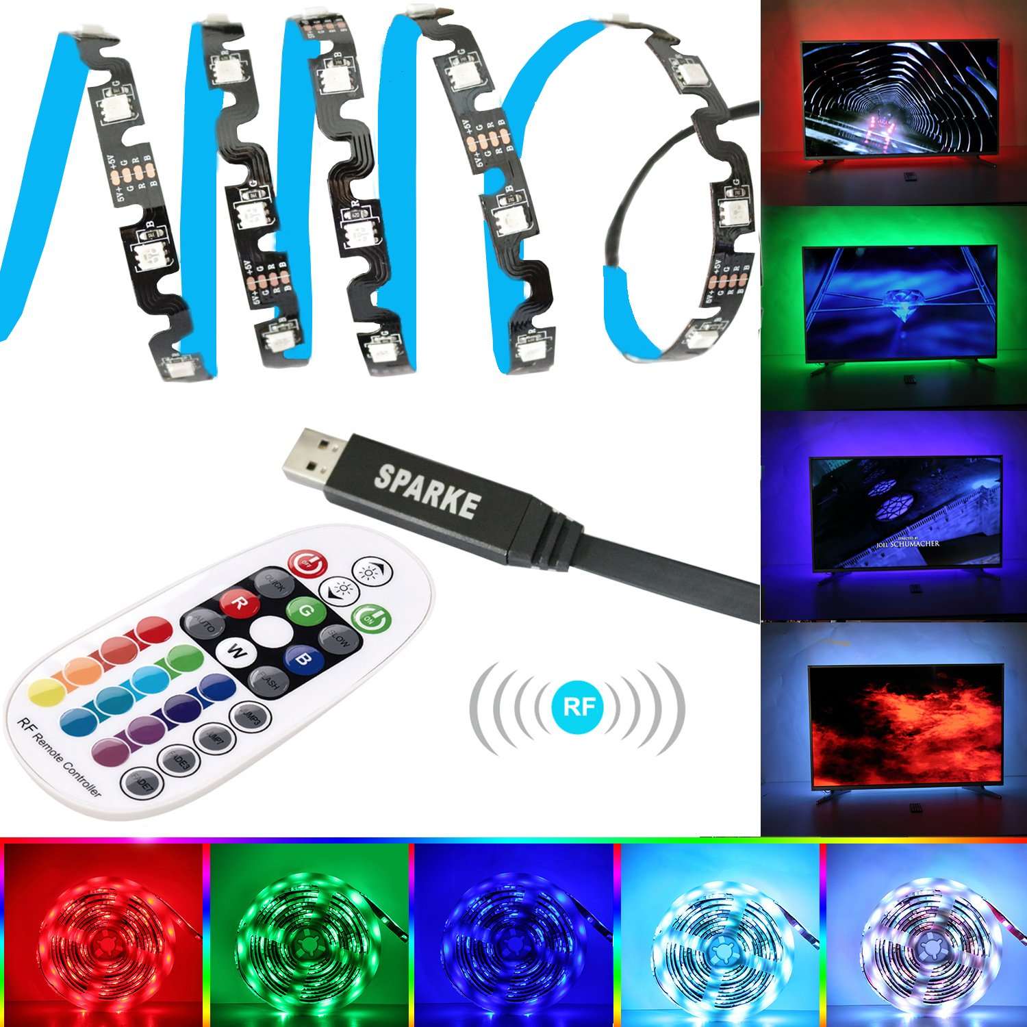 SPARKE LED RGB TV Backlight USB Powered 3meter 9.9feet 5050 Flexible Strip Light Kit with RF Remote Controller for Large Screen TV Monitor 45 70 Inches