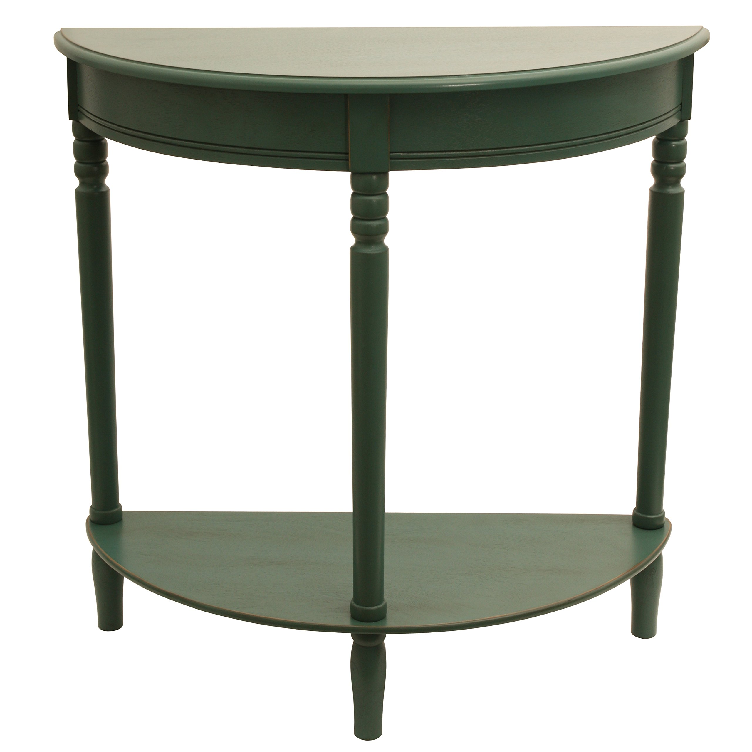 Décor Therapy FR1800 Half Round Table, Antique Teal Finish, 28.25'' W x 11.8'' D x 28.25'' H