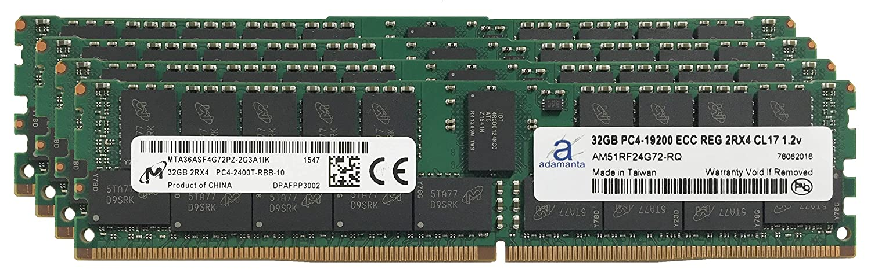 Micron元128 GB ( 4 x 32gb )サーバーメモリアップグレードfor QuantaコンピュータQCT quantagrid d51ph-1ulh ddr4 2400 MHz pc4 – 19200 ECC Registeredチップ2rx4 cl17 1.2 V Adamanta Ram B06VVQZPQ3