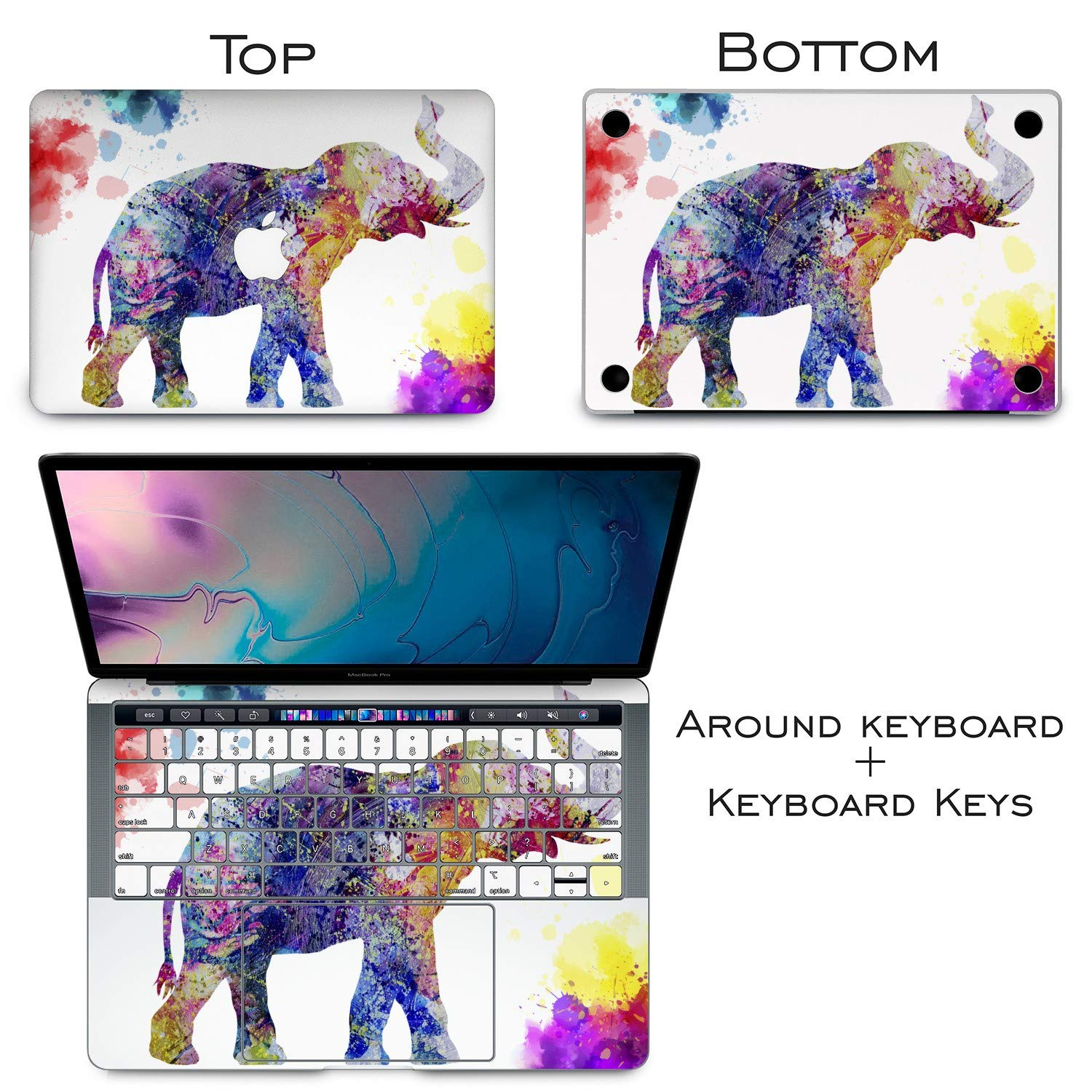 Lex Altern Vinyl Skin for MacBook Air 13 inch Mac Pro 15 Retina 12 11 2019 2018 2017 2016 2015 Watercolor Splash Pattern Nature Pink Elephant Touch Bar Laptop Cover Keyboard Decal Sticker Wrap Girl by Lex Altern (Image #7)