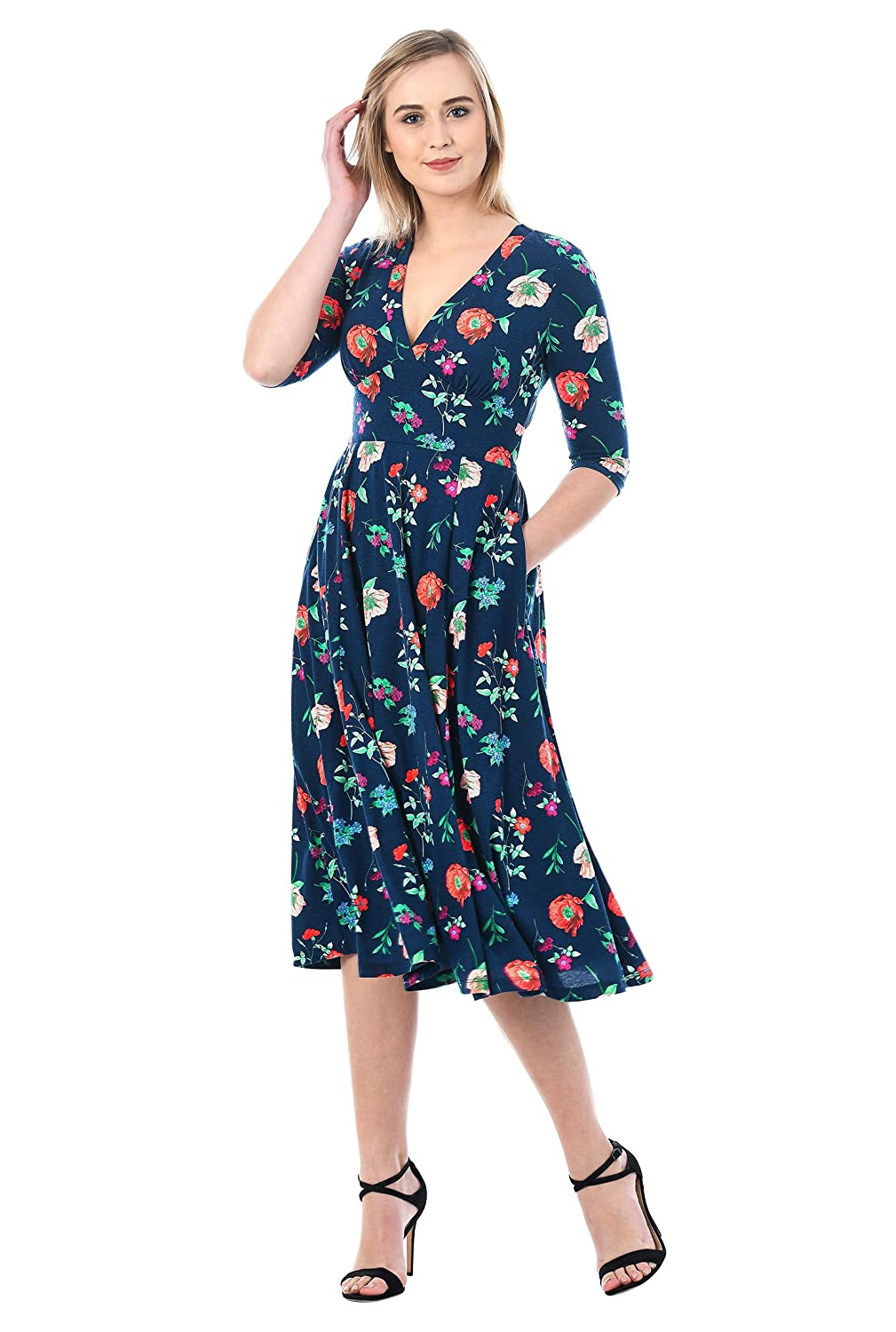 1940s Style Dresses | 40s Dress, Swing Dress eShakti Womens Banded Empire Floral Cotton Knit Dress $59.95 AT vintagedancer.com