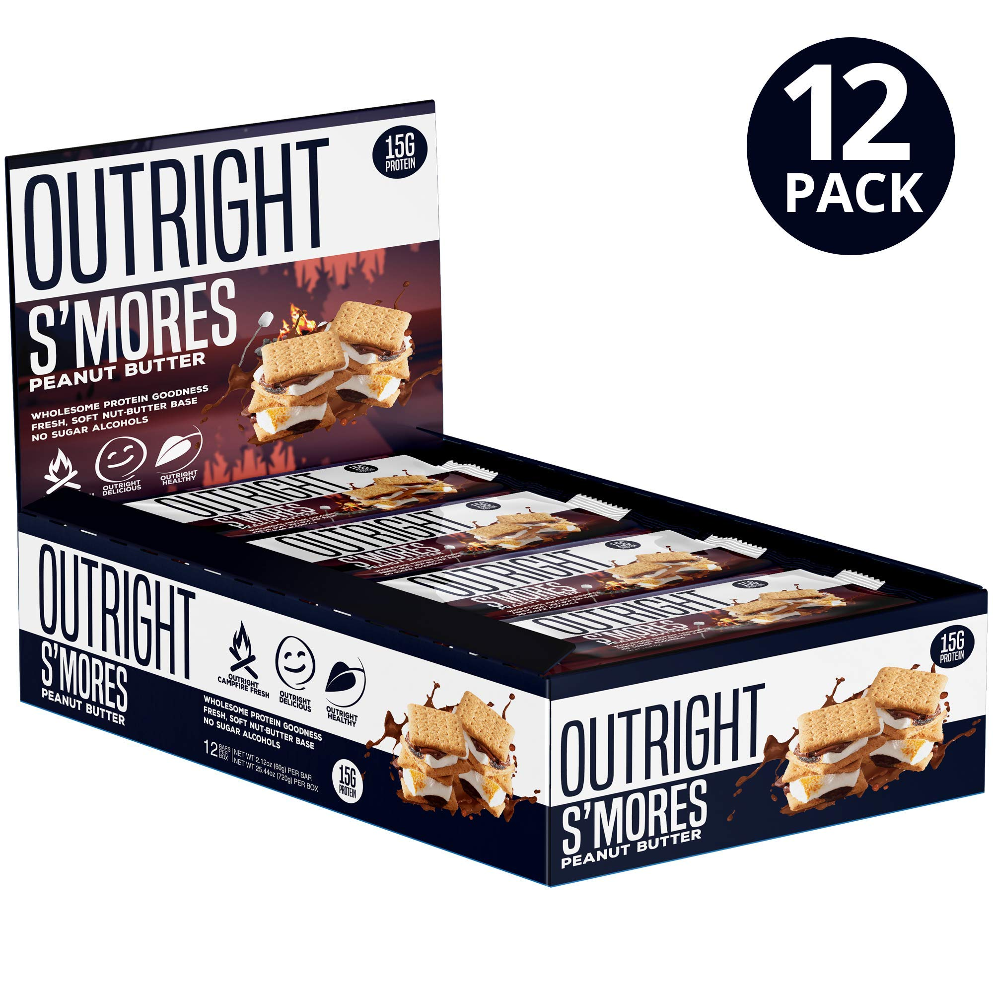 Outright Bar - Whole Food Protein Bar - 12 Pack - MTS Nutrition (S'Mores Peanut Butter) *Not Gluten Free* by MTS Nutrition