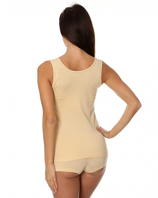 Hombros Desnudos Brubeck/® 3X TA00510A Comfort Cotton Tapa del Tanque de Las Mujeres Camiseta sin Mangas Chaleco Air Jet Tela Funcional