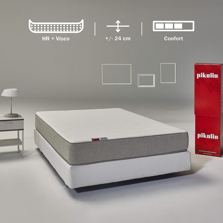Pikolin Leah, colchón viscoelástico y espuma HR gama alta, 135x190, firmeza alta, confort visco, calidad máxima, protección higiénica total