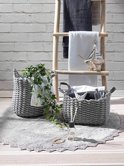 Aufbewahrungskorb Dekokorb Regalkorb Baumwolle Mais Natur Weiß 29x20x12 DEIK 1