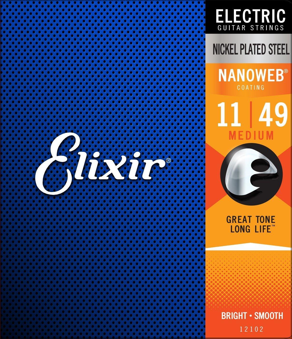 Elixir Strings Electric Guitar Strings w NANOWEB Coating, Medium (.011-.049) KMC Music Inc 12102