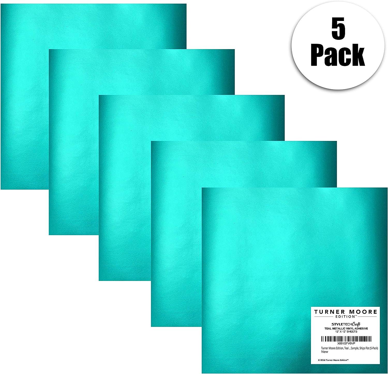 Adhesivo metálico de vinilo de color azul, paquete de 5 láminas de vinilo para manualidades de 30,5 x 30,5 cm, 5 pies en total, muestra la expresión de cricut, silueta de cameo,