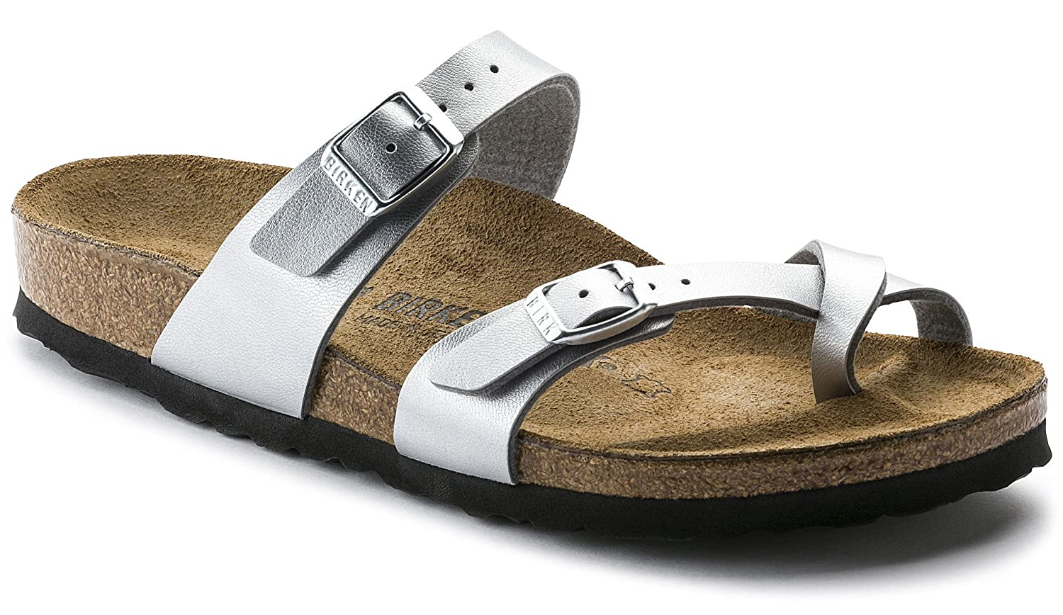 M New Style 40 M EU // 9-9.5 B Mayari US Women Cork-Footbed Flat Sandals in Silver Womens