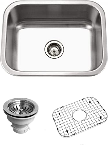Houzer BSS-2309 Belleo Series Topmount Single Bowl Kitchen Sink, Stainless Steel