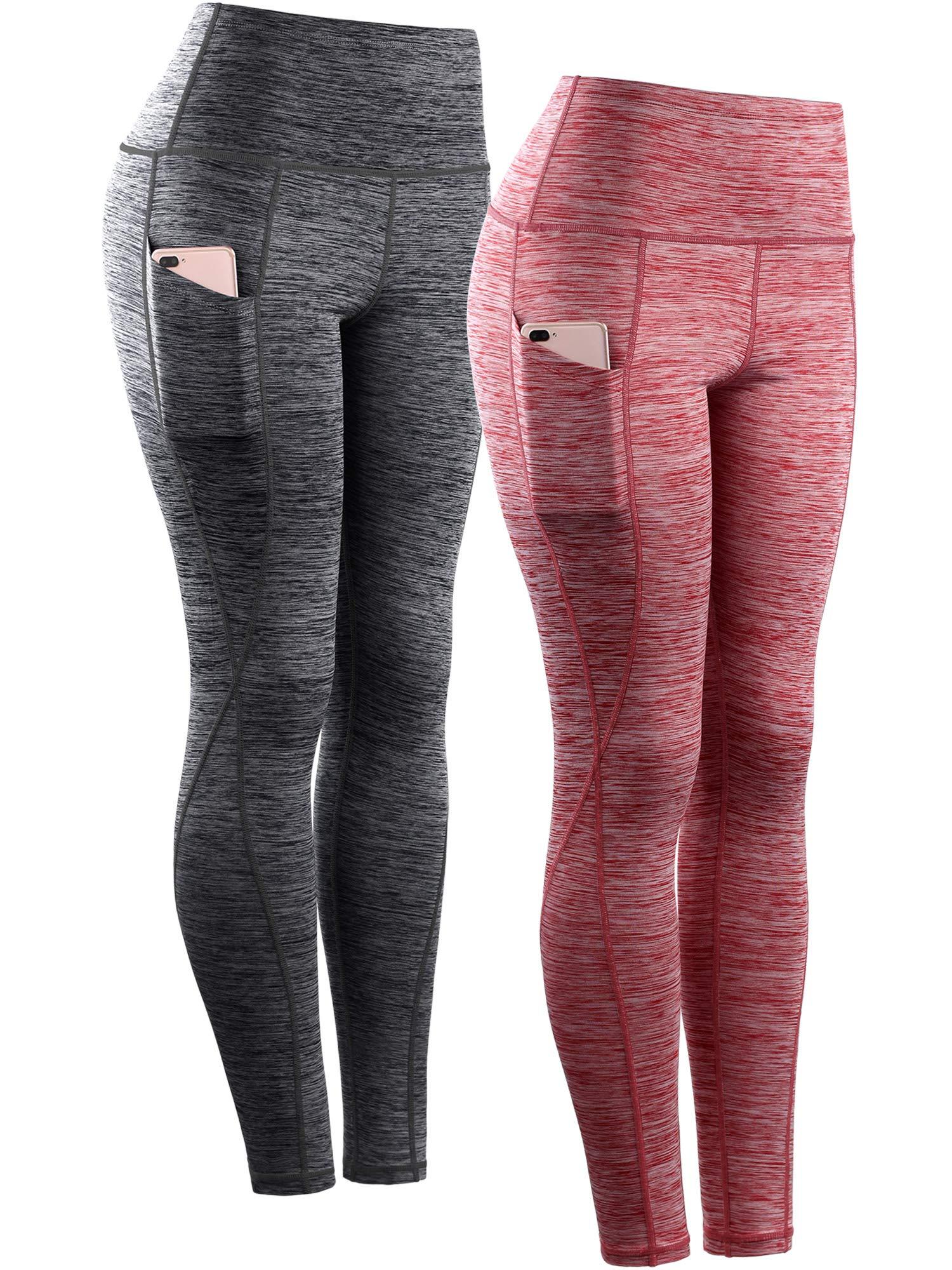 Neleus Tummy Control High Waist Workout Running Leggings for Women,9033,Yoga Pant 2 Pack,Black,Red,S,EU M