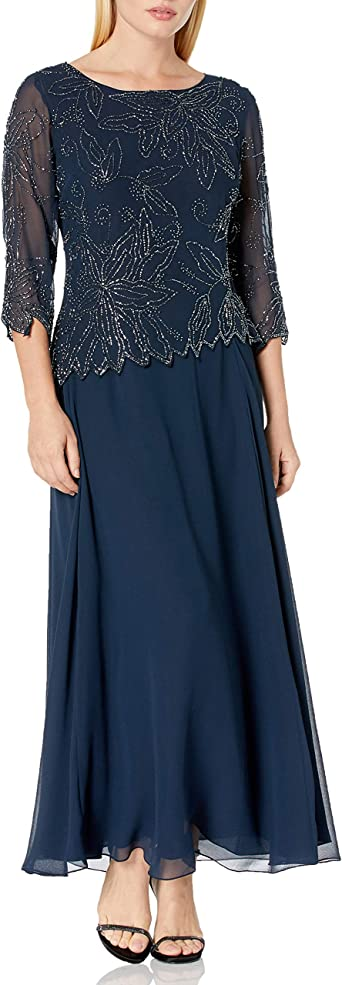 J Kara Women's Petite Floral Beaded Gown
