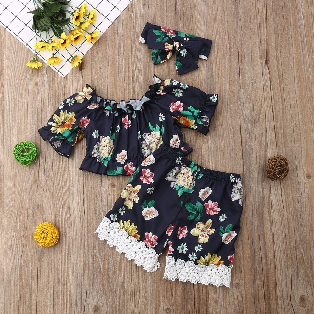 Newborn Baby Girl Floral Shorts Set Tube Off Shoulder Top+Lace Shorts Pant with Headband Infant Summer Outfit Clothes