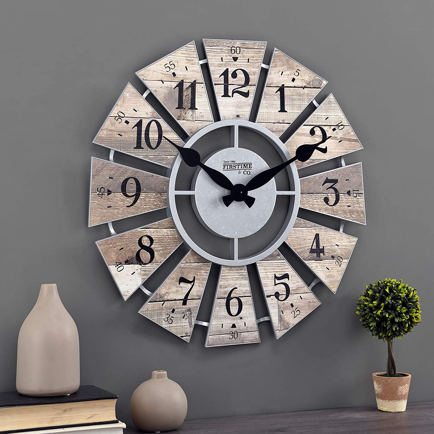 FirsTime & Co. Brown Shiplap Farmhouse Windmill Clock, American Designed, Brown, 24 x 2 x 24 inches