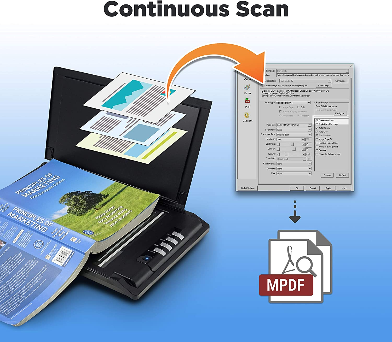 3sec Fast scan Speeds High Speed Flatbed Scanner Support Windows and Twain Plustek OpticSilm 2680h Compact Design for Home and Home Office