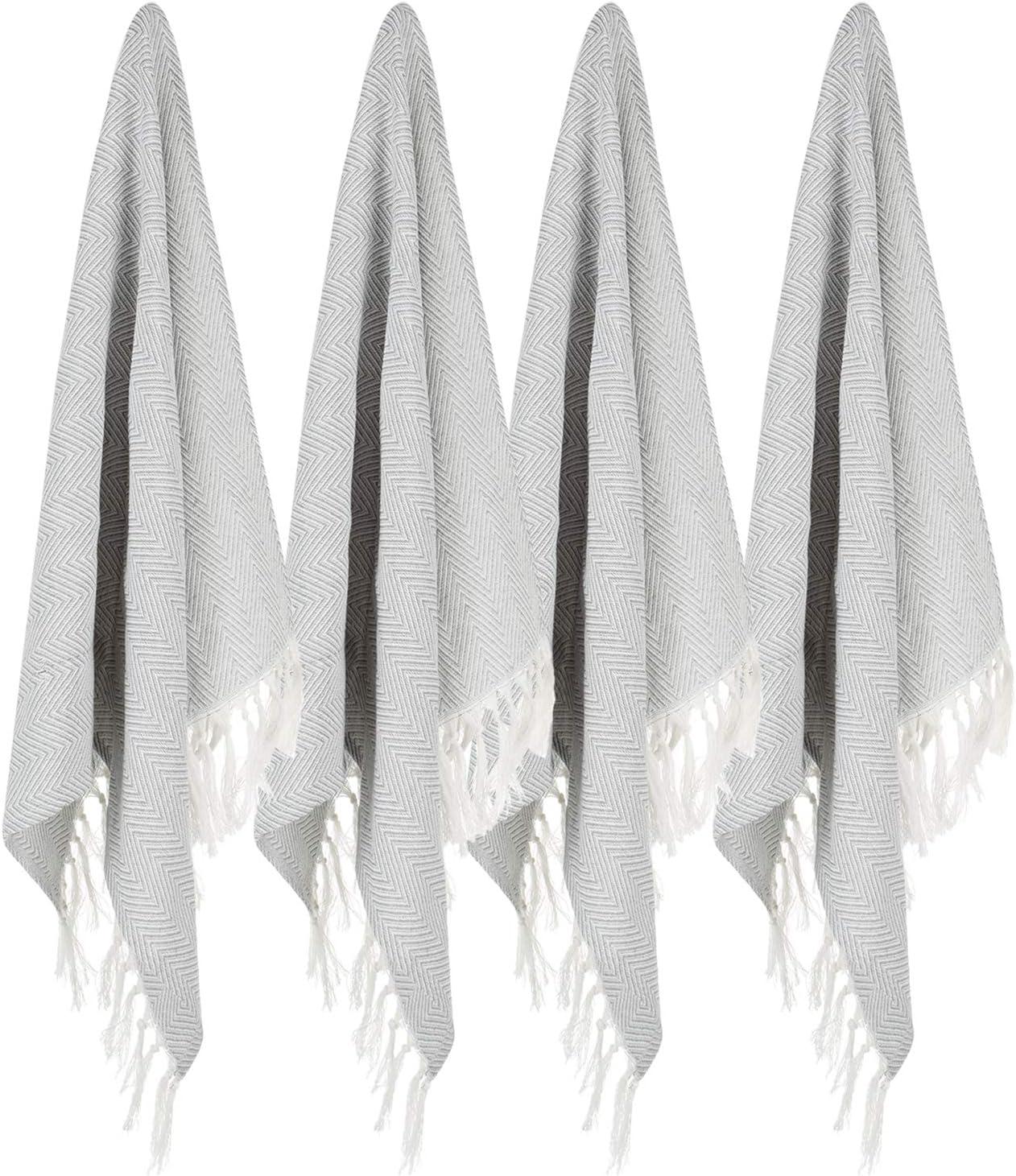 100% Cotton Hand Face Head Guest Gym Towel Set Washcloth Kitchen Tea Towel Dish Cloth Set of 4 Light Grey