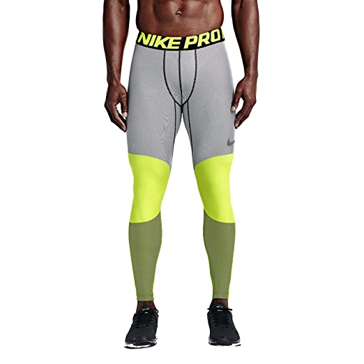 7a2216be06 Nike Men's Hyperwarm Dri-Fit Max Compression 5 Quarter Tights, Volt/Black,