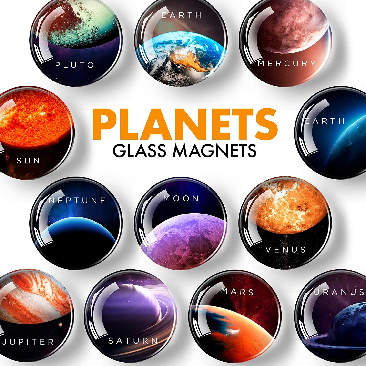Planet Magnets for Fridge – Glass Refrigerator Magnets Funny – Cute Magnets for Whiteboard – Decorative Locker Magnets for Girls and Boys – Succulent Fridge Magnets for Kitchen and Office