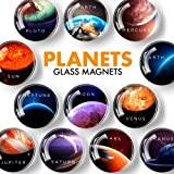 Planet Magnets for Fridge – Glass Refrigerator Magnets Funny – Cute Magnets for Whiteboard – Decorative Locker Magnets for Gi