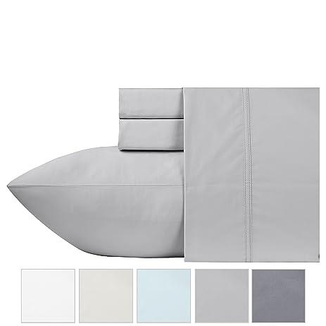 600 thread count 100 cotton sheets light gray longstaple cotton queen sheets