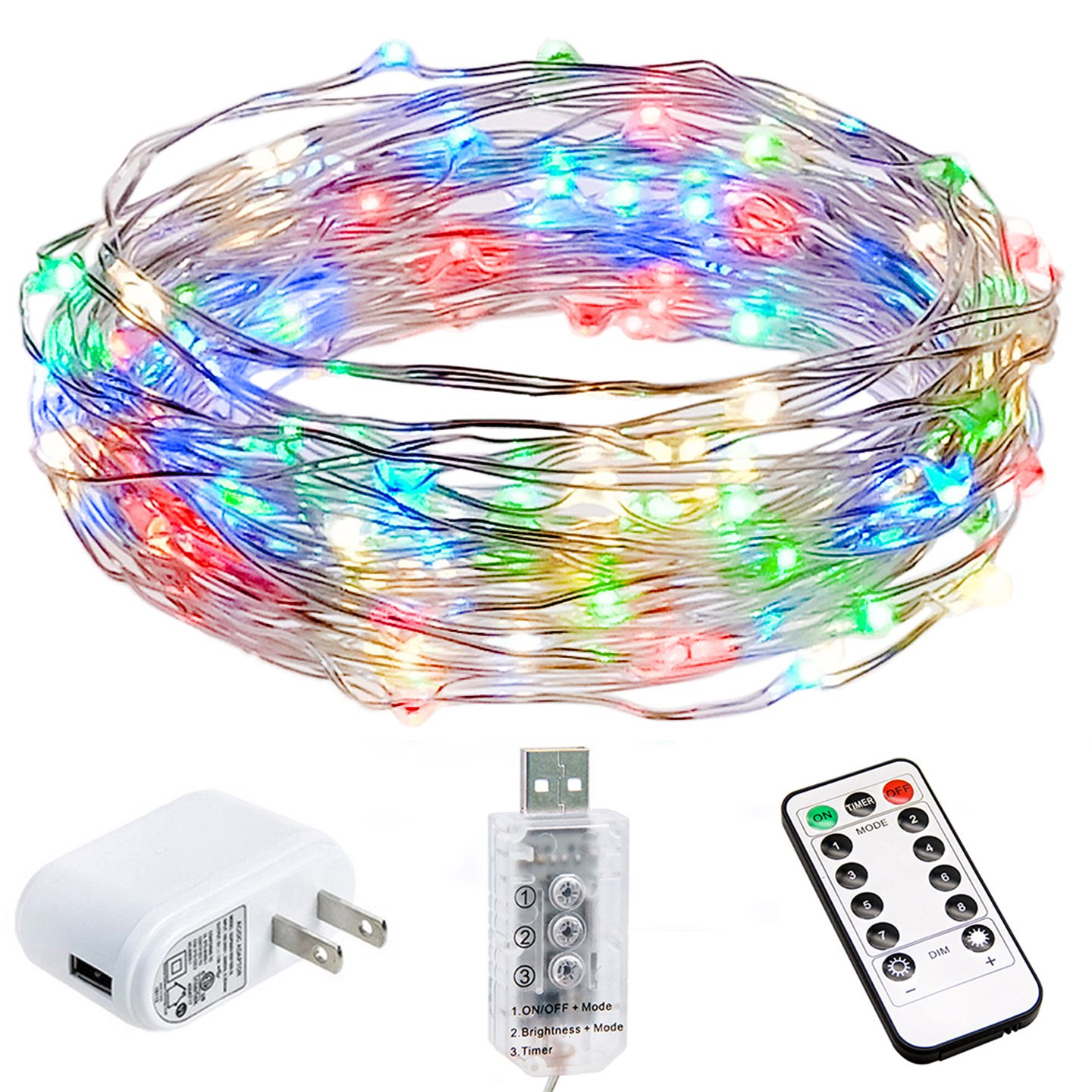 HSicily LED USB String Lights 8 Modes 33Ft 100 LEDs Starry Fairy Lights Plug in Remote Control with Timer for Wedding Christmas Party Bedroom Indoor Outdoor Decorative (Colorful)