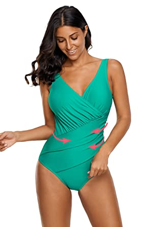 aee608f6a7 Image Unavailable. Image not available for. Color  Zando Stylish Slimming  Ruched Plus Size Tummy Control Swimwear V-Neck Backless One Piece Swimsuit